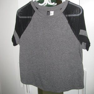Grey and Black Shirt with Mesh Sleeves - H&M